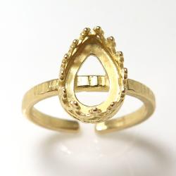 指輪 リング 空枠 ハンマード(ベゼルセッティング/カボション用)クラウン ペアシェイプ 10×7mm(真鍮ブラス・ゴールドカラー)(2個)