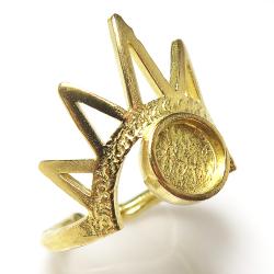 指輪空枠 ゴールド ブラス リング 王冠クラウン 6mm(真鍮ゴールドカラー) 1個