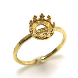 ハンマード指輪リング空枠クラウン(ベゼルセッティング/カボション用)(ラウンド 6mm)(真鍮ブラス・ゴールドカラー)(4個)