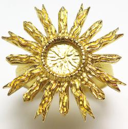 太陽 サン リング 指輪 6mm 空枠(カボション用)真鍮ブラス・ゴールドカラー(1個)