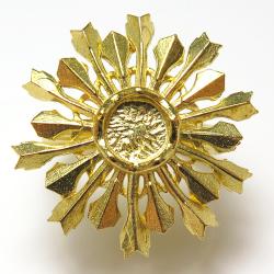 スノークリスタル 雪の結晶 指輪 リング 6mm 空枠(カボション用)真鍮ブラス・ゴールドカラー(1個)