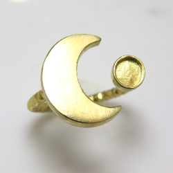 ムーン 三日月 惑星 テクスチャー リング 指輪 4mm空枠(カボション用)真鍮ブラス・ゴールドカラー(2個)