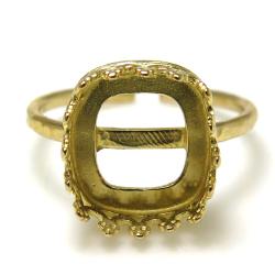 指輪 空枠 ハンマードリング(ベゼルセッティング/カボション用)スクエア10mm(真鍮ブラス・ゴールドカラー)(3個)