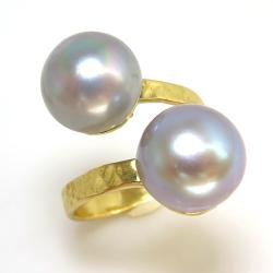 淡水パール真珠 指輪リング/ハンマード(ボタン・シルバーブルーグレー系10mm×2)(真鍮ブラス・ゴールドカラー)(1個)