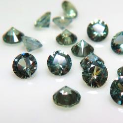 天然石ルース(裸石)・グリーンサファイア(加熱処理)スリランカ・セイロン/ラウンド【3.5mm】ダイヤモンドカット(1個)