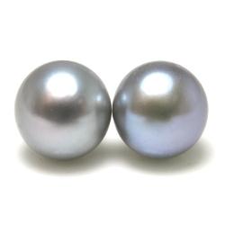淡水パールピアス真珠(シルバーブルーグレー系)ボタン10mm「14kgf(ゴールドフィルド)」(1ペア)