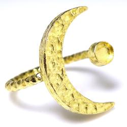 三日月 リング ムーン 惑星 指輪 ハンマード 4mm空枠(カボション用)真鍮ブラス・ゴールドカラー(2個)