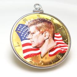 ケネディコイン ペンダント JFK 24金ゴールドプレーテッド アメリカ ハーフダラー(50セント) バチカン付「シルバーSV925」(1個)