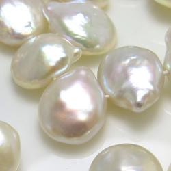 淡水パール真珠(ホワイト系)ケシパール(花びら)(横穴)12~16mm×10~13mm×3~7mm(1連)