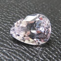 天然石ルース(裸石)クンツァイト(非加熱・ブラジル産)ペアシェイプ【13.26×8.95×6.69mm】ファセットカット(1個)