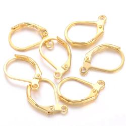 レバーバックピアス(ニッケルフリー)(15mm×10mm)真鍮ブラス・ゴールドカラー(50ペア)