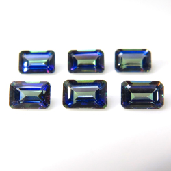 ミスティックトパーズ(ブルー)天然石ルース ブラジル産 レクタングル オクタゴン 【6×4mm】ファセットカット(1個)