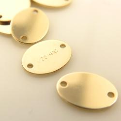 板カン/タグ 14kgfパーツ 刻印 ゴールドフィルド(7.3×5.5mm) 2ホール (7個)
