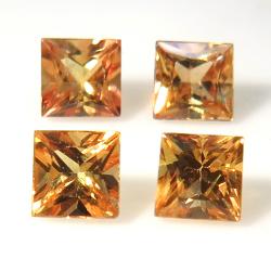 天然石ルース(裸石)オレンジサファイア(加熱処理)(セイロン・スリランカ)スクエア【3mm】プリンセンスカット(1個)