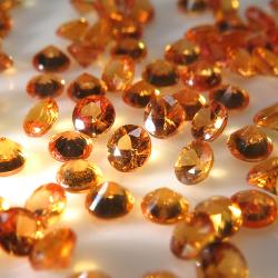 天然石ルース(裸石)オレンジサファイア(加熱処理)(アフリカ産)ラウンド【3mm】ダイヤモンドカット(3個)
