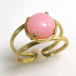 天然石指輪 ピンクオパール カボション4本爪ラウンド8mm(真鍮ブラス・ゴールドカラー)(1個)