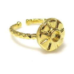 リング空枠 指輪 3mm テクスチャー(カボション用)真鍮ブラス・ゴールドカラー(2個)