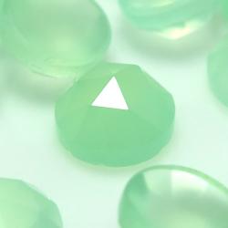 カルセドニー ローズカット カボション 天然石ルース スプリンググリーン染 ラウンド【5mm】(8個)