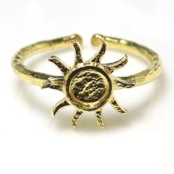 太陽 指輪 サン ゴールド ブラスリング 空枠 石枠 ラウンド4mm (真鍮ブラス・ゴールドカラー)4個