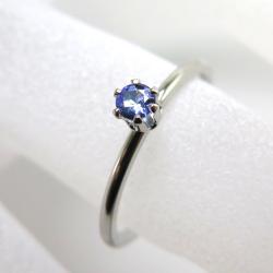 シルバーリング(指輪)天然石タンザナイト3mm(ラウンド)「SV925」(ロジウム)(サイズ目安:10号)(1個)