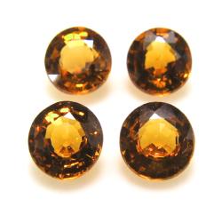 天然石ルース(裸石)オレンジ トルマリン(非加熱 モザンビーク産) ラウンド【5mm】ファセットカット(1個)