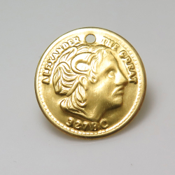 アレクサンドロス3世 コイン ペンダント チャーム(アレクサンドロス大王・アンティーク/ビンテージ調)(19mm)(真鍮ブラスカラー)(20個)