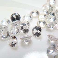 天然石ルース(裸石)・ホワイトサファイア(スリランカ産・非加熱)/ラウンド【3mm】ダイヤモンドカット(50個)