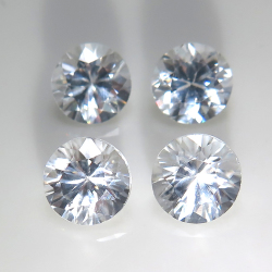 天然石ルース(裸石) ホワイトジルコン(非加熱)カンボジア産/ラウンド【6mm】ダイヤモンドカット(1個)