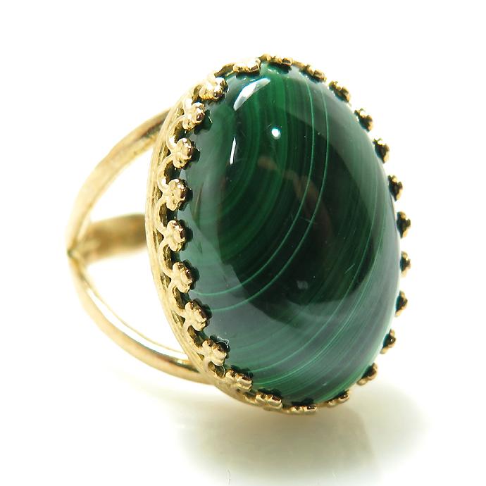 マラカイト指輪 リング 天然石(カボションオーバル18×13mm)(真鍮ブラス・ゴールドカラー)(1個)