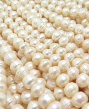 真珠 淡水パール バロック~ポテト(ホワイト系)8~9mm玉 約36センチ(1連)