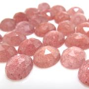 天然石ルース(裸石)ストロベリークオーツ/カボション・ローズカット(オーバル)【8×6mm】(50個)
