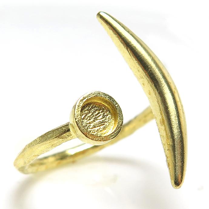 ムーン 有明月 惑星 リング 指輪 4mm空枠(カボション用)真鍮ブラス・ゴールドカラー(2個)
