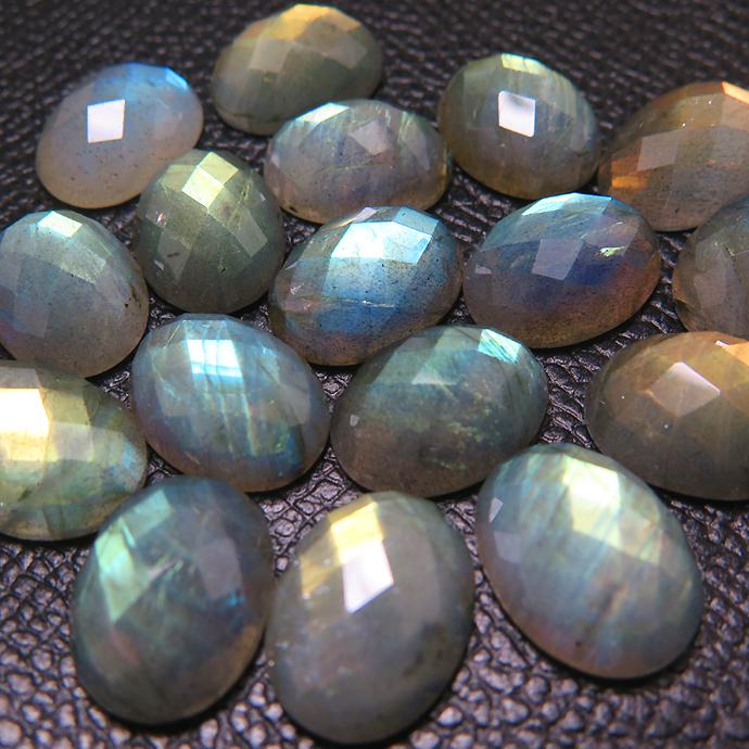天然石ルース(裸石)ラブラドライト/オーバル(14×10mm)チェッカーカット ファセット カボション(1個)