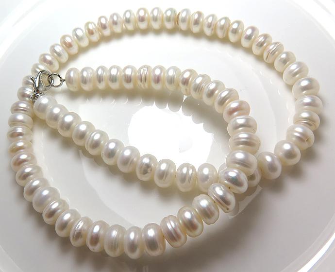 淡水パールネックレス真珠(ホワイト系)/ラウンデル(7mm)(40センチ)(10連)