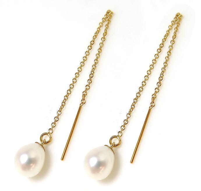 パール 14kgfチェーンピアス 淡水真珠 (ホワイト系)ドロップ(エッグ)6~7mm 「ゴールドフィルド)」(1ペア)