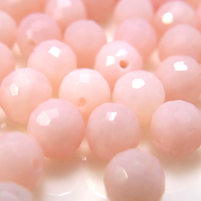 天然石ルース(裸石)ピンクオパール/ラウンドボール片穴【4mm】ミラーボール チェッカーカット(4個)