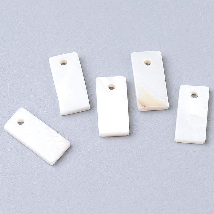 シェル レクタングル 長方形 ディスク 貝殻 チャーム アクセサリー (14×6mm)1ホール(50個)