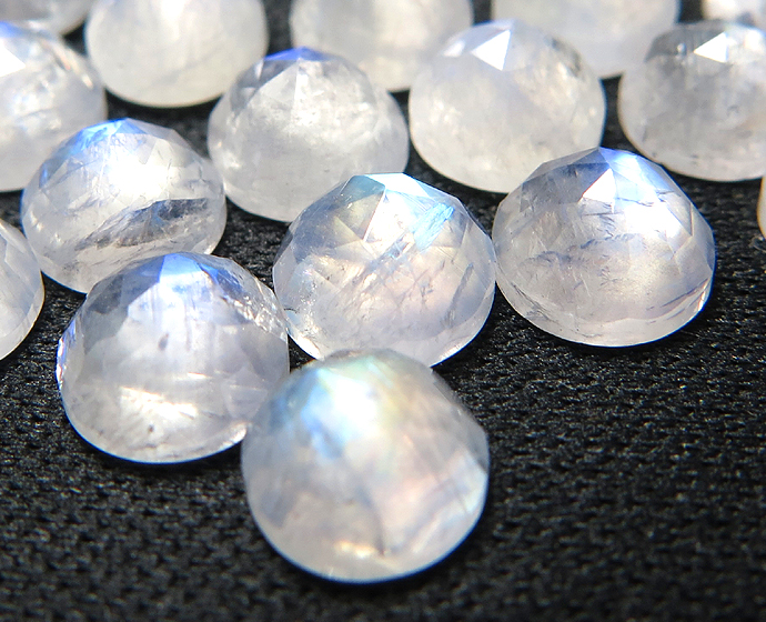 天然石ルース(裸石) レインボームーンストーン/ラウンド(8mm)カボション ローズカット(1個)