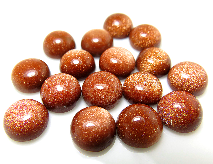 人工石ルース ゴールドサンドストーン(茶金石)カボションカット(ラウンド)【10mm】(5個)