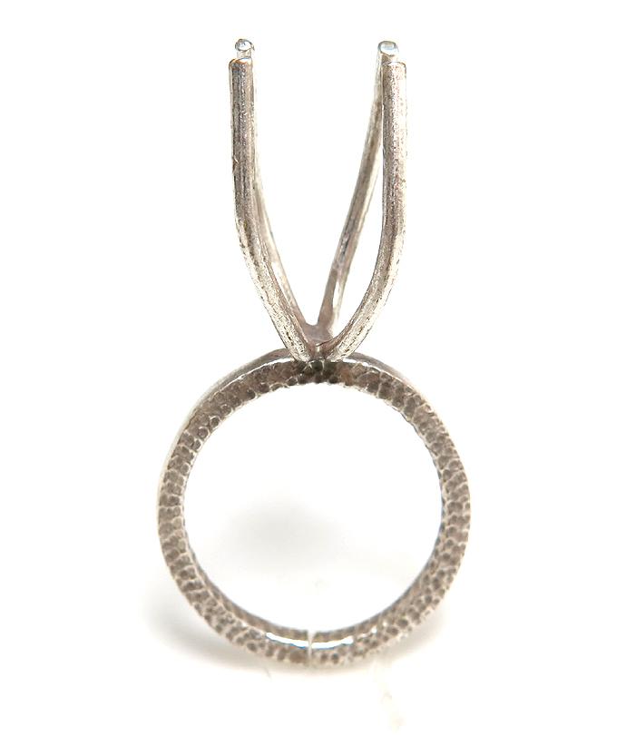 指輪 空枠 リング ラフストーン・タンブル~カボション 4本爪 36mm(30×15) 真鍮ブラス・シルバーカラー(1個)