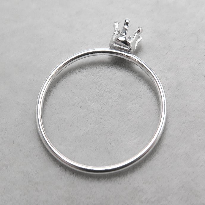 シルバーリングパーツ(指輪)空枠4mm(ラウンド/線径1mm)「SV925」(サイズ目安:13号)(10個)