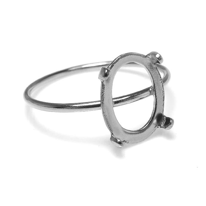 シルバー石枠 リングパーツ 指輪 カボション 空枠 10×8mm・4本爪(オーバル/線径1mm)SV925(サイズ目安:11号)(1個)