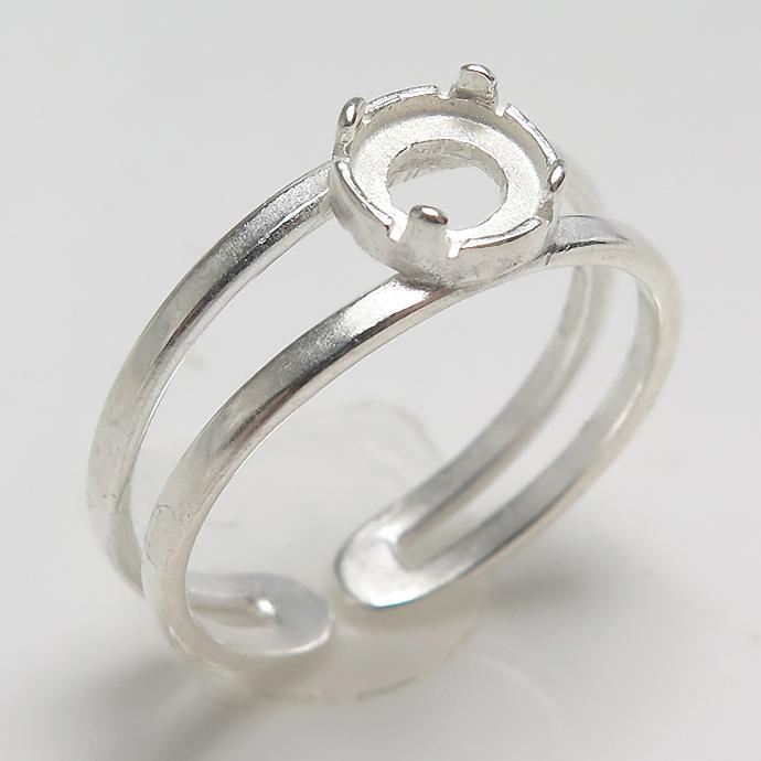 指輪 リング 空枠4本爪 カボション用(ラウンド・5mm)(真鍮ブラス・シルバーカラー) 2個