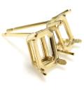 14kgfピアス キャスト 空枠 石枠 4本爪(オクタゴン・エメラルド 6×4mm)ゴールドフィルド(1個)