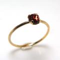 14kgf天然石リング(指輪)ガーネット<1月誕生石>4mm(4本爪カボション/ローズカット・ラウンド)(サイズ目安:9号)ゴールドフィルド(1個)