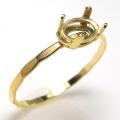 14kgf指輪 ハンマードリング パーツ 空枠 オーバル 横 6×4mm 4本爪 ゴールドフィルド (サイズ目安:9号) 1個