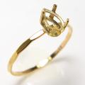 14kgfリング 指輪 ハンマード パーツ 空枠 ペア 縦6×4mm 4本爪 ゴールドフィルド (サイズ目安:11号) 1個