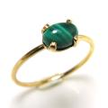14kgf天然石リング(指輪)マラカイト 6×4mm(4本爪カボション/オーバル)ゴールドフィルド(1個)