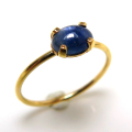 14kgf天然石リング(指輪)ブルーサファイア<9月誕生石>(ビルマ産) 6×4mm(4本爪カボション/オーバル)ゴールドフィルド(1個)