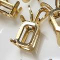 14kgfペンダント 空枠 石枠 キャスト 4本爪(オクタゴン・エメラルド 6×4mm)ゴールドフィルド(1個)